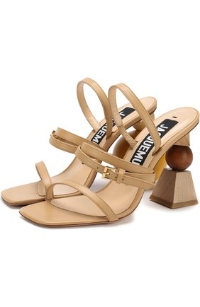 Кожаные босоножки на фигурном каблуке | Фото №1
