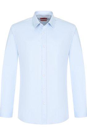 Хлопковая сорочка с воротником кент HUGO голубая   Фото №1