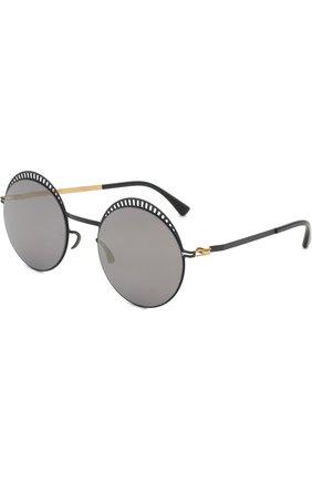 Мужские солнцезащитные очки MYKITA черного цвета, арт. STUDI0 1.4/INDIG0/G0LD/BRILLIANTBLUE | Фото 1