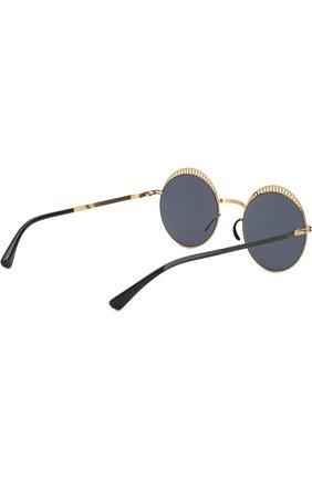Женские солнцезащитные очки MYKITA черного цвета, арт. STUDI0 1.4/INDIG0/G0LD/BRILLIANTBLUE | Фото 4