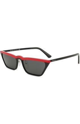 Женские солнцезащитные очки PRADA черного цвета, арт. 19US-YVH5S0 | Фото 1