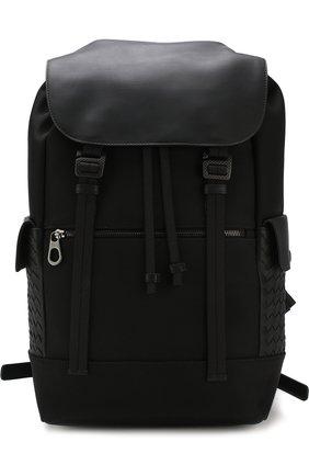 Мужской текстильный рюкзак с кожаной отделкой BOTTEGA VENETA черного цвета, арт. 520460/VAYE3 | Фото 1