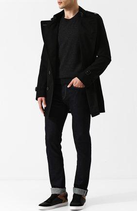 Мужской джемпер из шерсти тонкой вязки BURBERRY темно-серого цвета, арт. 4061739   Фото 2