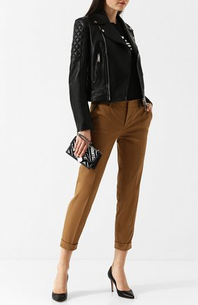 Укороченные хлопковые брюки со стрелками Dsquared2 темно-бежевые | Фото №1