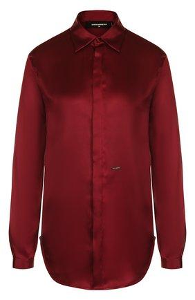 Женская однотонная шелковая блуза прямого кроя Dsquared2, цвет бордовый, арт. S75DL0590/S48965 в ЦУМ | Фото №1