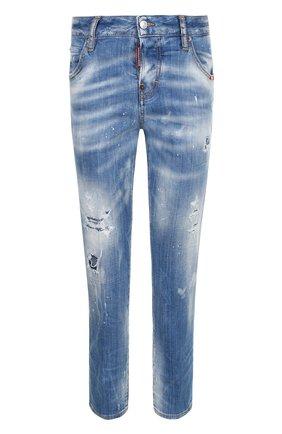 Укороченные джинсы прямого кроя с потертостями Dsquared2 голубые | Фото №1
