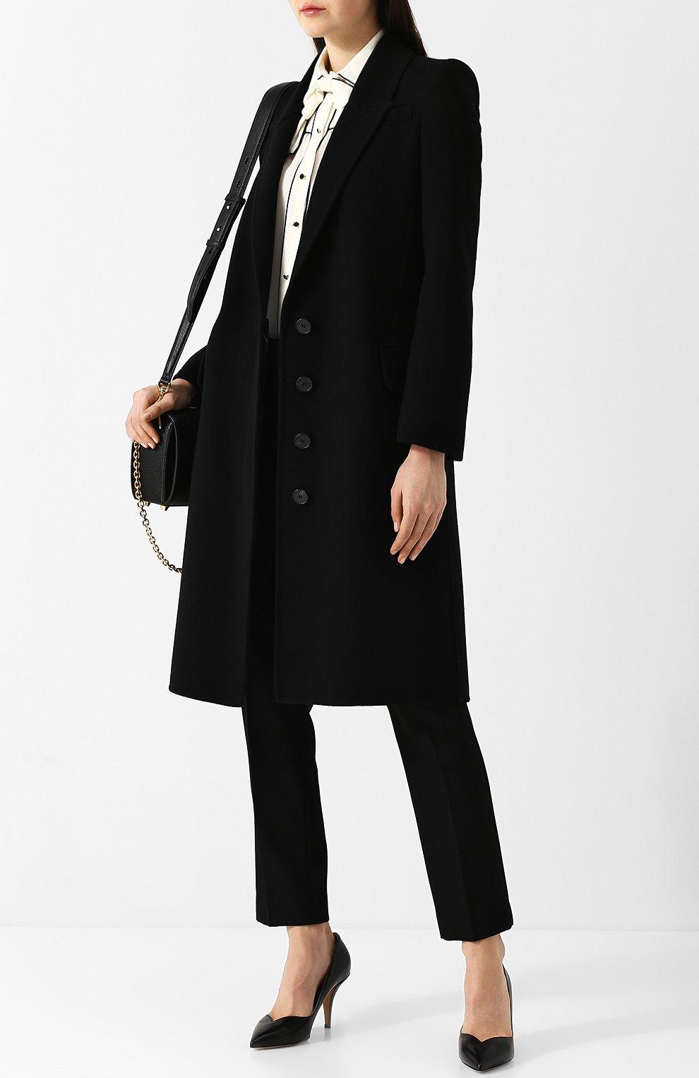 Однотонное пальто прямого кроя из смеси шерсти и кашемира | Фото №2