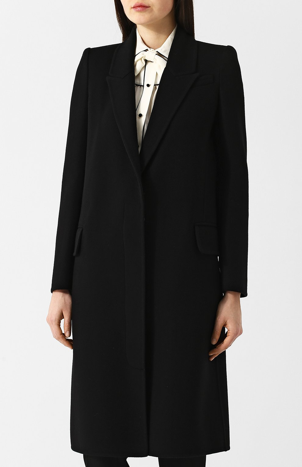 Однотонное пальто прямого кроя из смеси шерсти и кашемира | Фото №3