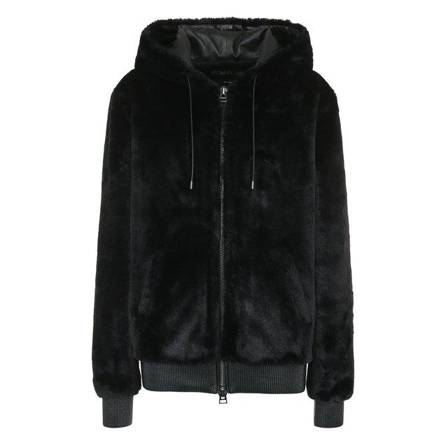 Однотонная куртка с капюшоном и кожаной отделкой Tom Ford
