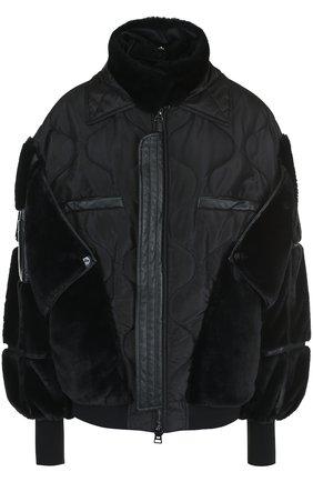 Женская однотонная куртка с воротником-стойкой и кожаной отделкой TOM FORD черного цвета, арт. CSF569-FUF006 | Фото 1