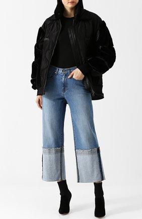Однотонная куртка с воротником-стойкой и кожаной отделкой Tom Ford черная   Фото №1