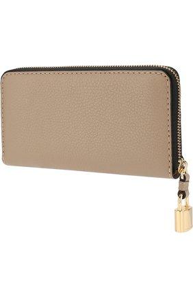 Кожаный кошелек на молнии с логотипом бренда Marc Jacobs светло-серого цвета | Фото №1