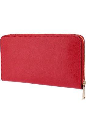Кожаный кошелек на молнии с логотипом бренда Furla красного цвета | Фото №1