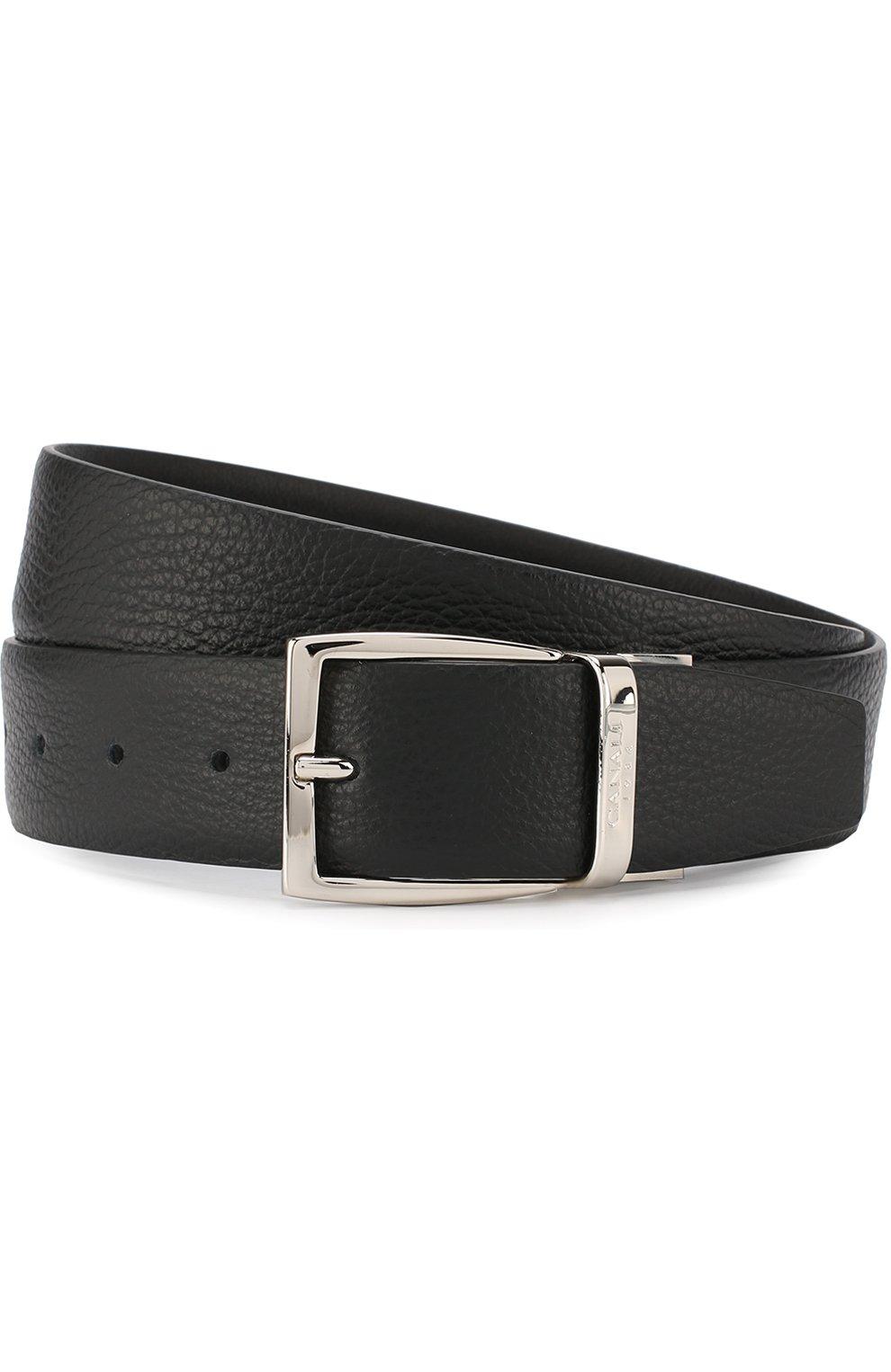 Мужской кожаный ремень CANALI черного цвета, арт. 50/KA00107   Фото 1
