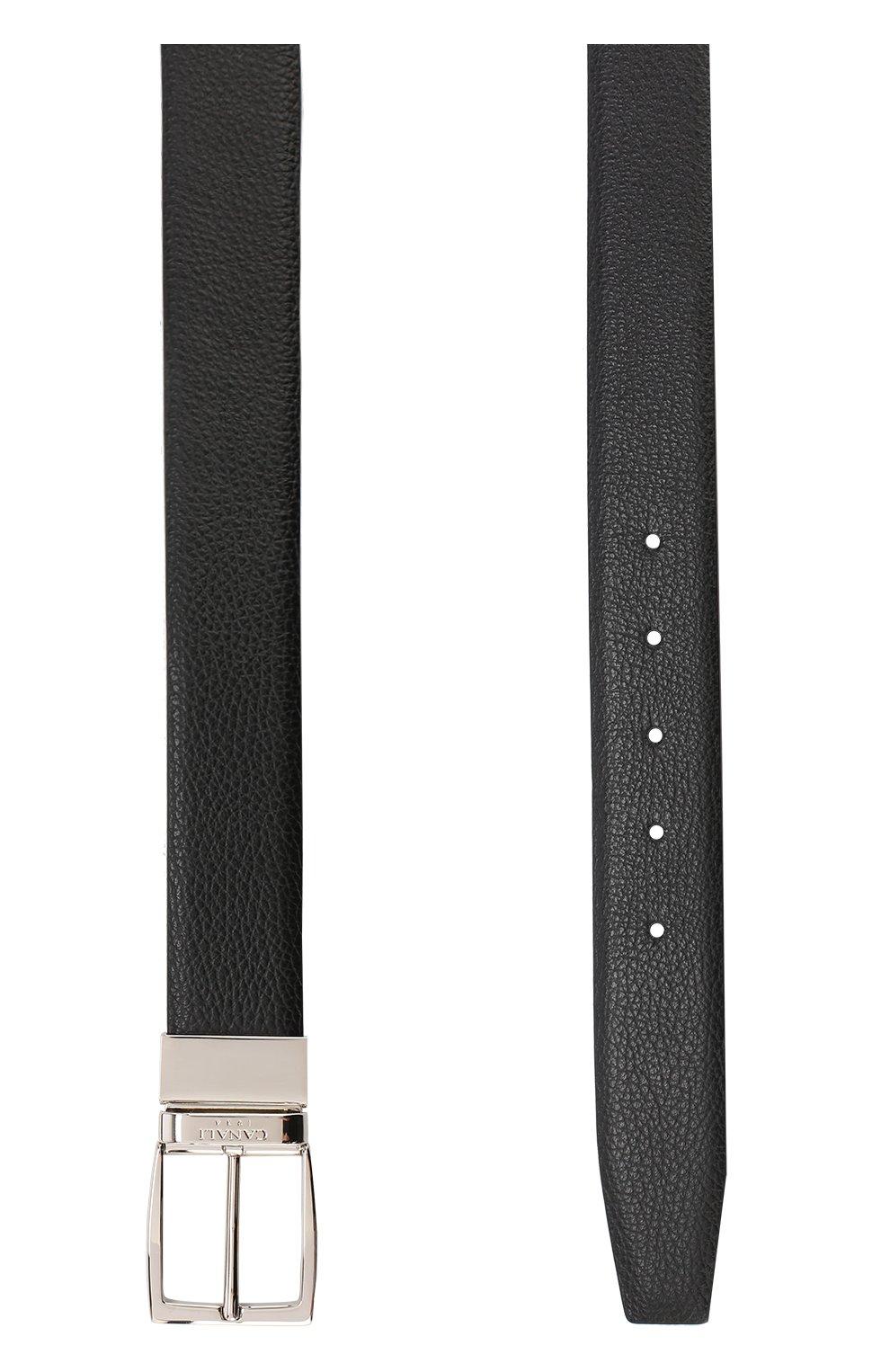 Мужской кожаный ремень CANALI черного цвета, арт. 50/KA00107   Фото 2