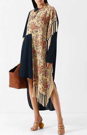 Платье-миди асимметричного кроя с бахромой Loewe разноцветное | Фото №1