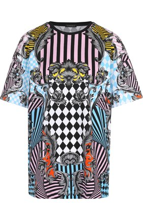 Хлопковая футболка с круглым вырезом и принтом