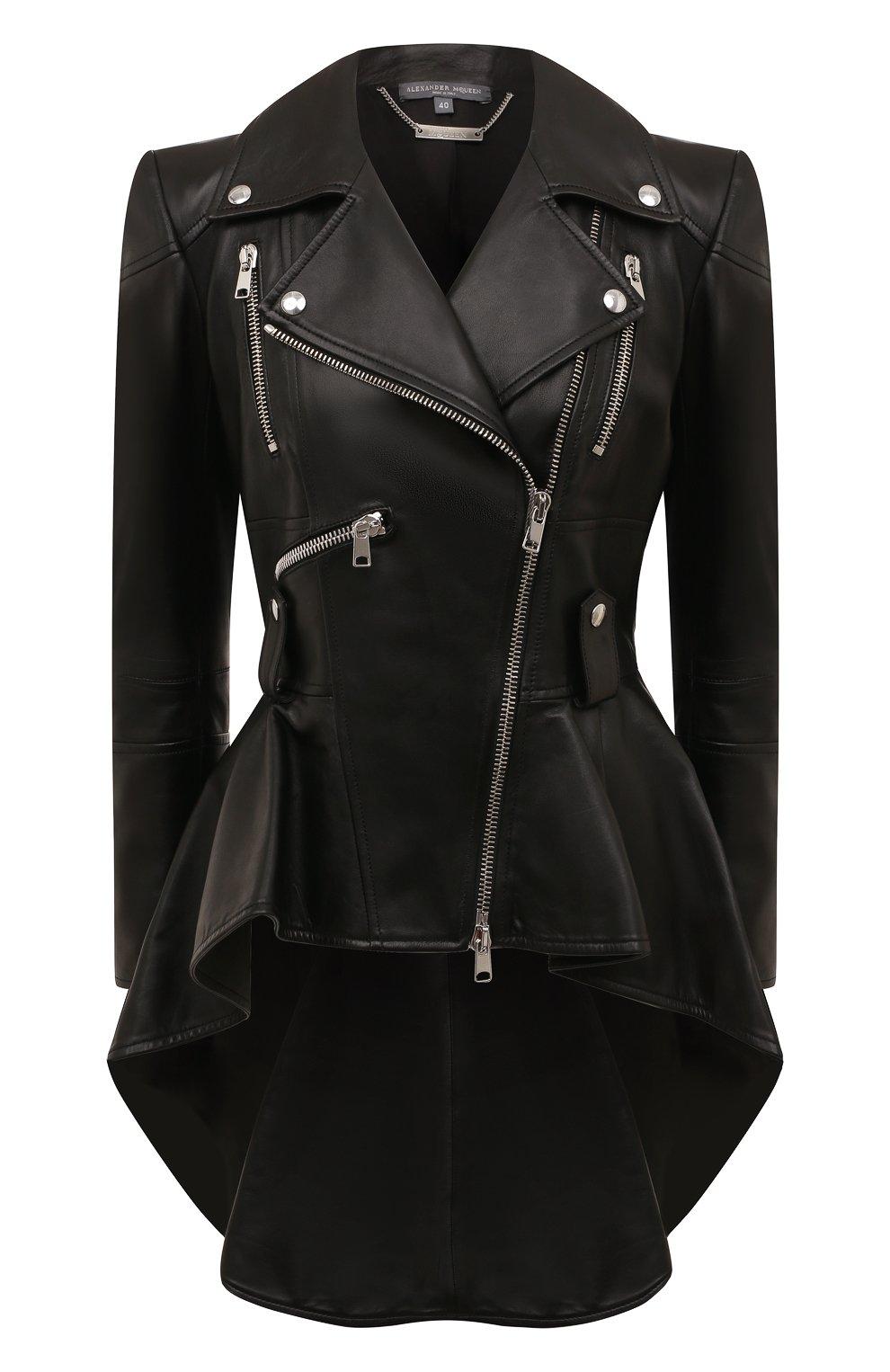 Женская приталенная кожаная куртка с удлиненной спинкой ALEXANDER MCQUEEN черного цвета, арт. 507772/Q5KWI | Фото 1