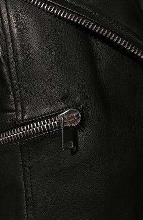 Женская приталенная кожаная куртка с удлиненной спинкой ALEXANDER MCQUEEN черного цвета, арт. 507772/Q5KWI | Фото 5