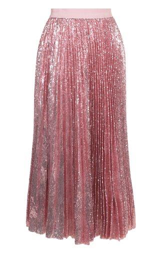 Плиссированная юбка-миди с пайетками