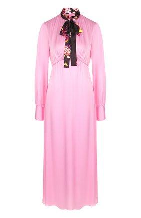 Однотонное платье-миди с контрастным воротником аскот | Фото №1