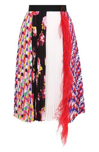 Плиссированная юбка с принтом и перьевой отделкой