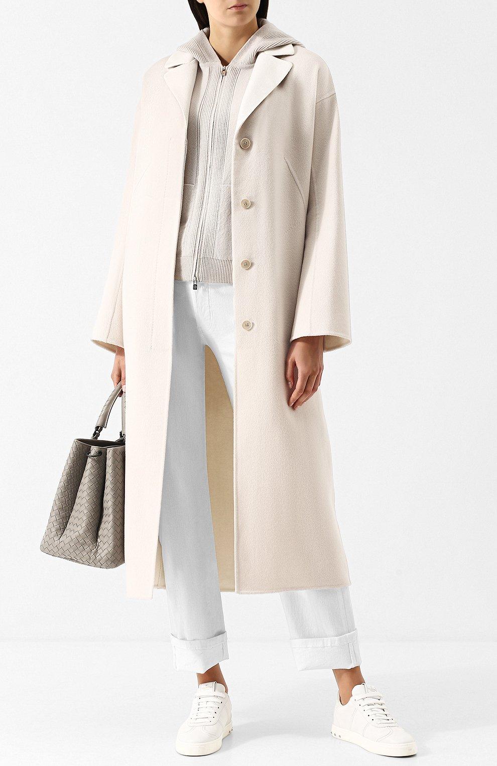 Женское кашемировое удлиненное пальто со спущенным рукавом LORO PIANA светло-серого цвета, арт. FAF9652 | Фото 2