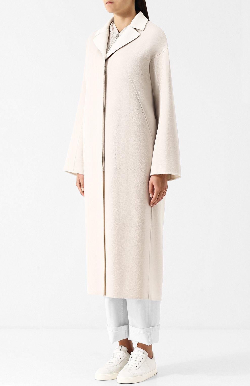 Женское кашемировое удлиненное пальто со спущенным рукавом LORO PIANA светло-серого цвета, арт. FAF9652 | Фото 3