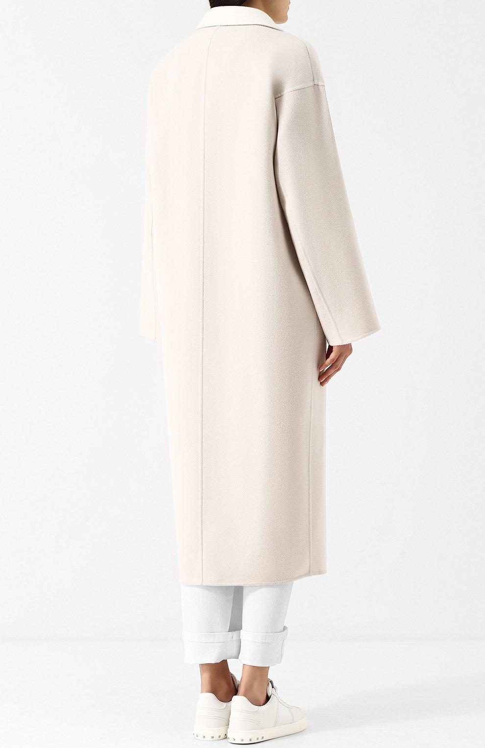 Женское кашемировое удлиненное пальто со спущенным рукавом LORO PIANA светло-серого цвета, арт. FAF9652 | Фото 4