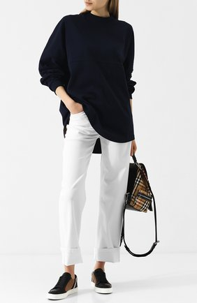 Кожаные кеды с текстильной отделкой на шнуровке | Фото №2