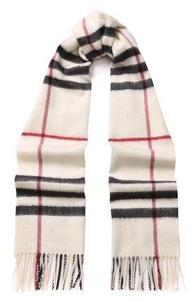 Кашемировый шарф в клетку с бахромой   Фото №1