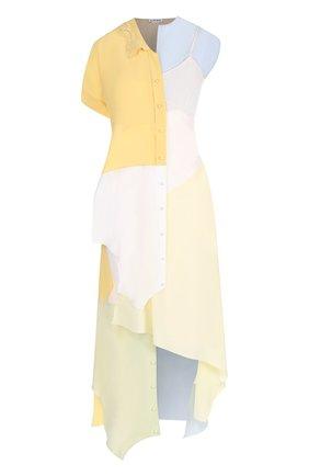 Шелковое платье-миди асимметричного кроя Loewe разноцветное | Фото №1