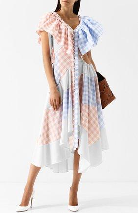 Платье-миди с V-образным вырезом и оборками Loewe разноцветное | Фото №1