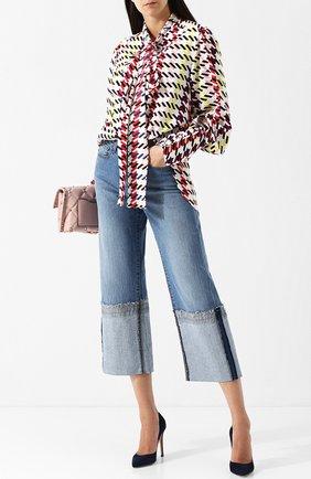 Женская шелковая блуза с принтом и воротником аскот Oscar de la Renta, цвет разноцветный, арт. 18PN716JHS в ЦУМ | Фото №1