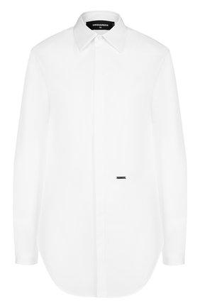 Женская однотонная хлопковая блуза прямого кроя Dsquared2, цвет белый, арт. S75DL0590/S35244 в ЦУМ | Фото №1