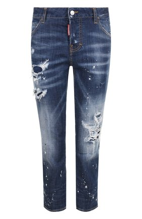 Укороченные джинсы прямого кроя с потертостями Dsquared2 синие | Фото №1