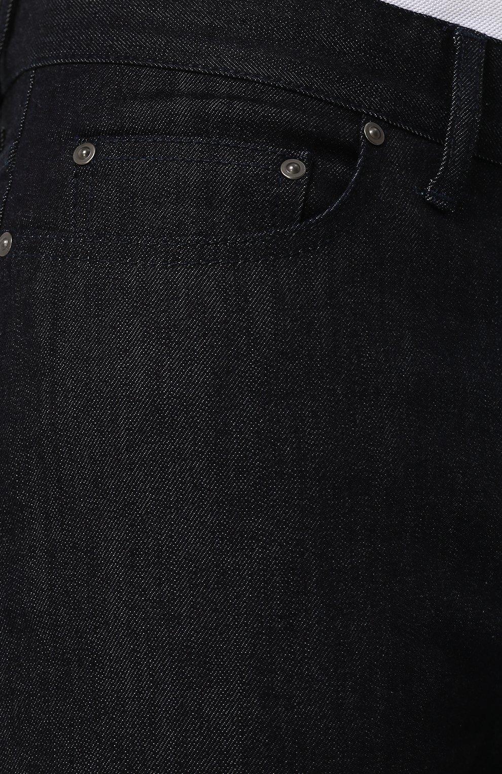 Джинсы прямого кроя Bottega Veneta темно-синие | Фото №5
