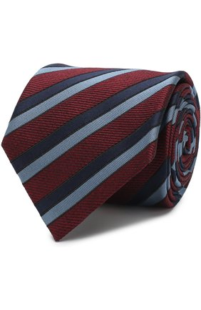 Мужской шелковый галстук в полоску BRIONI бордового цвета, арт. 061D00/07473 | Фото 1