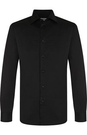 Мужская хлопковая сорочка с воротником кент BRIONI черного цвета, арт. RCL01C/PZ043 | Фото 1