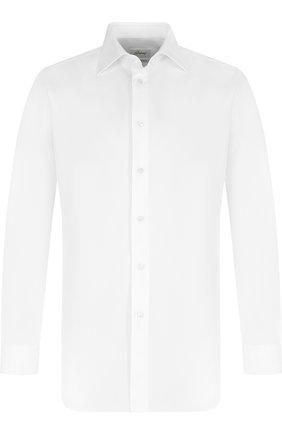 Мужская хлопковая сорочка с воротником кент BRIONI белого цвета, арт. RCLU1Z/PZ063 | Фото 1