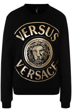 Хлопковый пуловер с логотипом бренда Versus Versace разноцветный   Фото №1