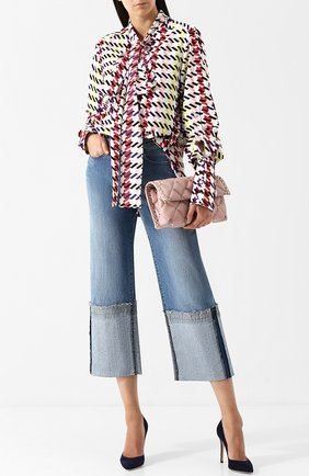 Укороченные джинсы с потертостями Oscar de la Renta синие | Фото №1