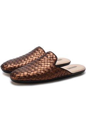 Домашние туфли из кожи с плетением intrecciato | Фото №1