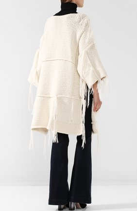 Вязаная накидка из смеси шерсти и кашемира с шелком The Row белая | Фото №4