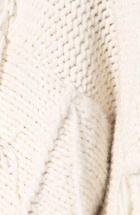 Вязаная накидка из смеси шерсти и кашемира с шелком The Row белая | Фото №5