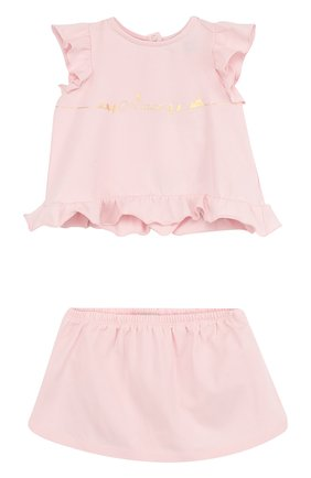 Хлопковый комплект из футболки и юбки | Фото №1