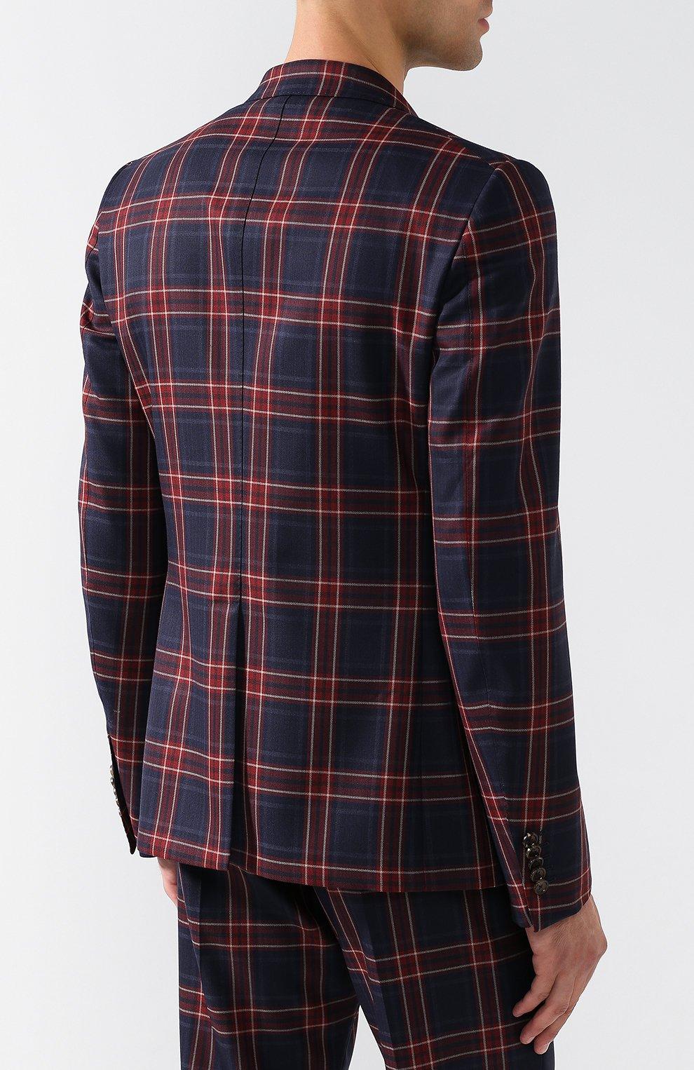 Шерстяной костюм в клетку с двубортным пиджаком | Фото №3