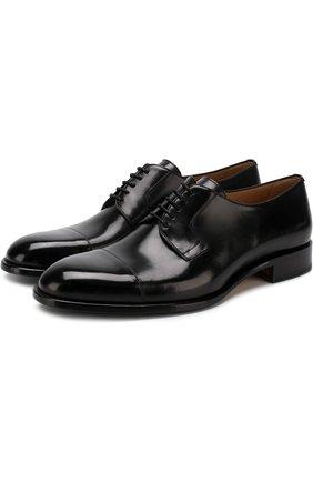 Мужской кожаные дерби на шнуровке BRIONI черного цвета, арт. QEEQ0L/P6757 | Фото 1