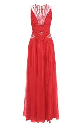 Шелковое платье-макси с декоративной отделкой Zuhair Murad малиновое | Фото №1