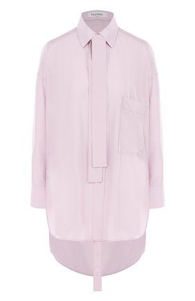 Однотонная шелковая блуза с воротником аскот | Фото №1